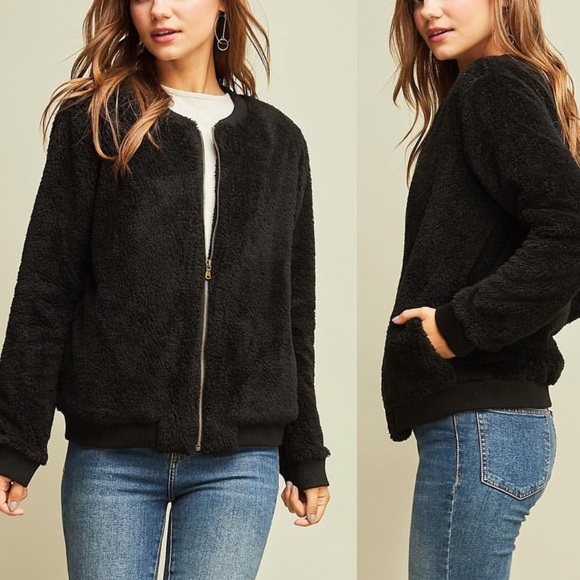 entro Jackets & Blazers - Black faux fur long sleeve zip jacket